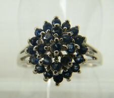 RING:  SIZE 7, RICH BLUE SAPPHIRE ROUND (2.5MM) SET HIGH 925 STERLING SILVER