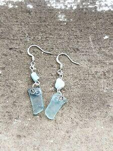 Light blue sea glass & larimar bead earrings