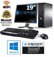 "hp or Dell Desktop PC Dual Core 4GB 160GB HDD 19"" LCD Monitor WiFi Windows 10"