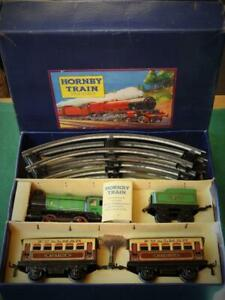 HORNBY MECCANO 1947 O GAUGE M1 BOXED TINPLATE CLOCKWORK PASSENGER TRAIN SET