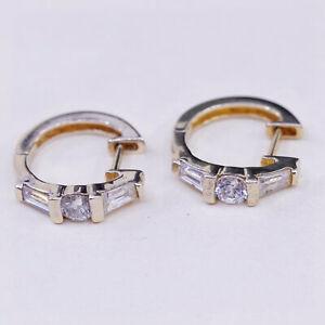 """0.5"""", Vintage vermeil gold over sterling silver earrings, 925 hoops, huggie, cz"""