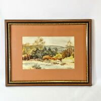Original Watercolor Painting Fall Landscape Signed Matted Framed Glass 13 x 10