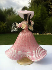 Vintage Mid 20thC Murano Glass Salviati Pink Black Lady Dancer Figure Gold Fleck