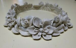 """Round 6"""" Pillar Candle Holder Tray Ceramic Floral Accents Decor 9"""" #SIDE3"""