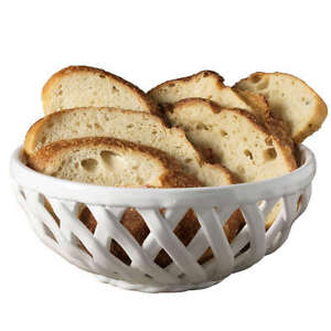 Modern Farmhouse Organic Bead 9-Inch Bread Basket in White