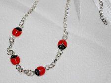 Anklet Silver Sterling with Red Cloisonne Ladybug Anklet-Brand New