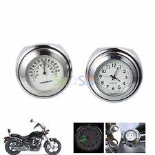 """7/8"""" Universelle Moto Montre Horloge de Guidon lueur Thermomètre Pour Harley"""