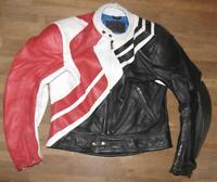 """ SCHUH "" Herren- Motorrad - Lederjacke / Biker- Jacke schwarz- rot ca. Gr. 52"
