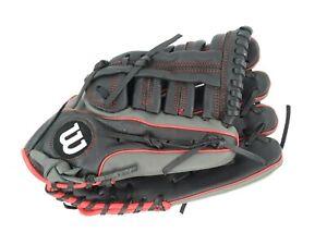 "Wilson A500 12.5"" RHT Youth Baseball Glove Gray Black Red A05RB18125"