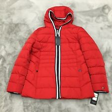 New Tommy Hilfiger Hooded Puffer w/ Contrast Zipper Crimson Womens Size Large