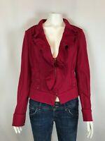 White House Black Market Womens Jacket Size 6 Ruffle Cropped Moto Zip Pink