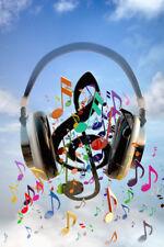 Headphones Blaring Musical Notes Art Print Poster 12x18