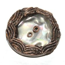 Bouton vintage original créateur en résine marron 35mm  button