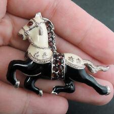 Enamel Horse Garnet & 925 Sterling Silver Pin Brooch Jewellery