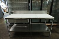 Commercial Poly Top Work Table with Backsplash & Undershelf - 72x30