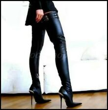 Chic Womens Leather Over Knee Thigh Boots Pointy Toe Stielttos Clubwear Shoes SZ