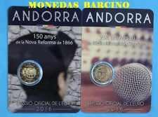 2016 Andorra Andorre LOT 2 PIECES  2 EURO COMMEMORATIVE  BU 2016  андорра FR.fx.