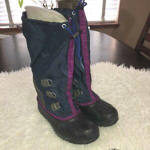 Vintage SOREL Womens FREESTYLE  Blue and Purple Snow Winter Boots Sz 6