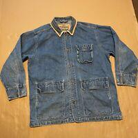 Men's Vintage Customised Levi's Long Length Denim Trucker Jacket Suede Collar XL
