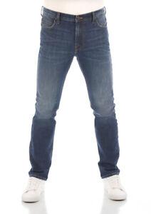 Lee Herren Jeans Jeanshose Rider Slim Fit Hose Baumwolle Blau Dark Mid Used