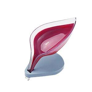 Leaf-shaped Soap Dish Creative Soap Box with Suction Base Soap Holder Drainage..