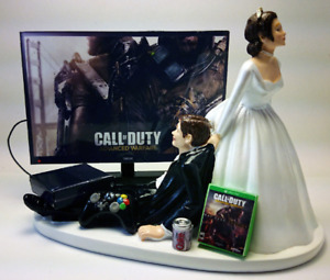 Gaming Funny Wedding Cake Topper Xbox Duty Bride dragging Groom