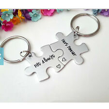 2PCS Puzzle Piece Set Share Alloy Puzzles Keychains Keyrings Her & His for Lover