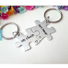 2PCS Puzzle Piece Set Share Alloy Puzzles Keychains Keyrings Her & His