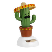1Pcs Solar Powered Bobble Head Dancing Toy Car Dashboard Ornament Cactus Gifts