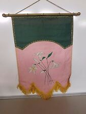 Odd Fellows Banner Embroidered Vintage Pink & Green Lillies Maine Rebekah
