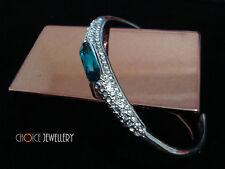 18K White Gold Plated Blue Crystal Swarovski Elements Bracelet