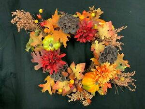 FALL AUTUMN HARVEST THANKSGIVING CENTERPIECE, CANDLE RING OR WREATH
