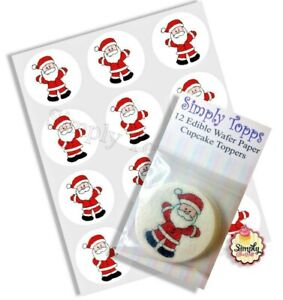 Cupcake Decoration Christmas Santa Precut Toppers Edible Rice Paper 40mm