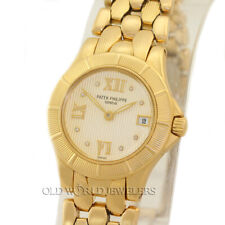Patek Philippe Lady Neptune Quartz Date 4881 Ivory Diamond Dial 18K Gold w/Box