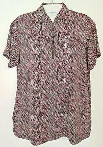 Sport Haley Golf Top Shirt M Medium Short Sleeve Pink Black Pocket Pullover