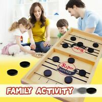 Fun Family Fast Sling Puck Game Wooden Board Table Hockey Game Party Toys US