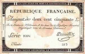 250 LIVRES VG- FINE NOTE FROM FRENCH REVOLUTION 1793 PICK-A75