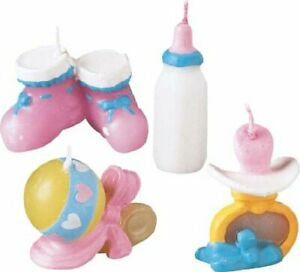 Wilton BABY Things 4 Candles Botties Rattle Baby Shower Birthday Cake Decoration