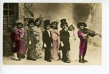 """Play Marriage"" Cute Children Dressed Up for Wedding RPPC Top Hats Violin 1910s"