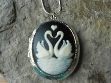 SWAN (S) FORMING A HEART CAMEO LOCKET!!  GIFT, LOVE, BIRD