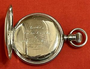 Coin Silver Hunter 16S Pocket Watch Case No Movement With Crystal & Inscription