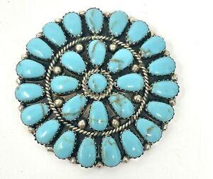 VTG Rosana Williams Navajo Sterling Turquoise Brooch/Pendant Combo (13.8G)