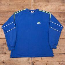 "Mens Vintage Adidas Blue Three Stripe V Neck Sweatshirt Jumper XL 46"" R10702"