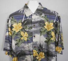 Tommy Bahama Floral Hawaiian Shirt Hibiscus Palm Trees Mountains Aloha Friday