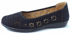 uk 3 ladies slip on shoes pumps casual comfort wedge black travel holiday shoes