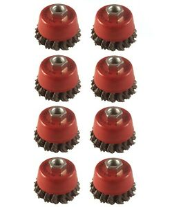 """8x Twist Knot Wire Wheel Cup Brush 3"""" M14 for 4.5"""" 115mm 9"""" Angle Grinder"""
