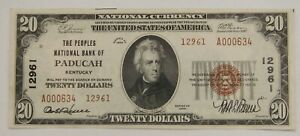 Paducah, KY - 1929 $20 The Peoples NB - Ch# 12961