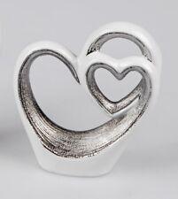 cuore decorativo bianco-argento in ceramica 15cm