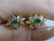 Vintage 14K Yellow Gold Emerald & Diamond Cluster Earrings - Omega backs
