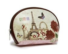 Cosmetic Bag - Eiffel Tower, Shoe, Purse, Stamps, Flowers & Butterfly Design